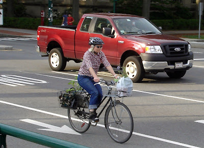 pickup truck bicycle hauling goods