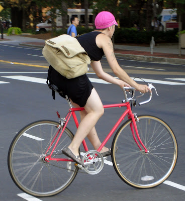 Boston lady cyclist