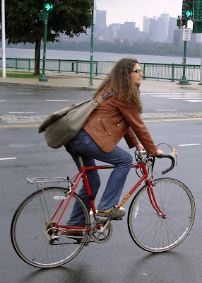 leather coat cyclist