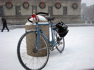 Bicycle Bike Holidays Snow Boston Library greetings