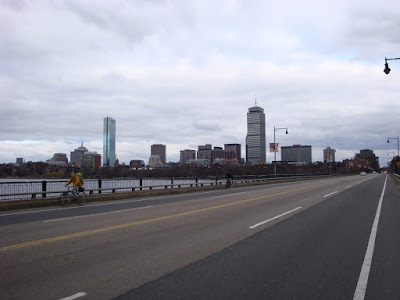 bicycling in Boston cityscape perspective