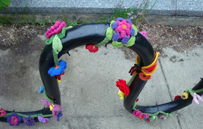 South End Boston knitters street art flowers bike bicycle rack