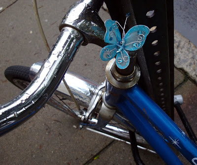 butterflies decorating a bike