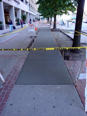 sidewalk work Mass Ave Boston