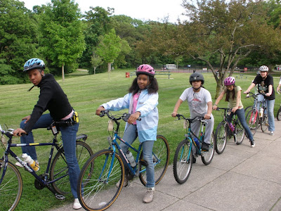 Bikes Not Bombs Earn a Bike program participants out on a ride