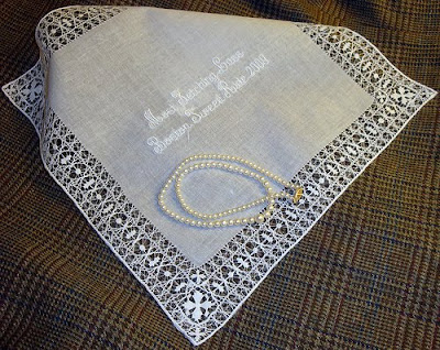 Lady's Best-Dressed prize embroidered hankie Boston Tweed Ride