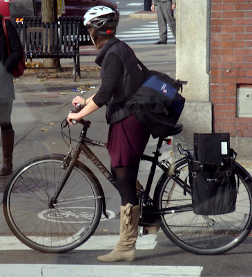fringed suede boots on a bike