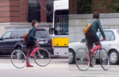 red boots riding a bike in Boston