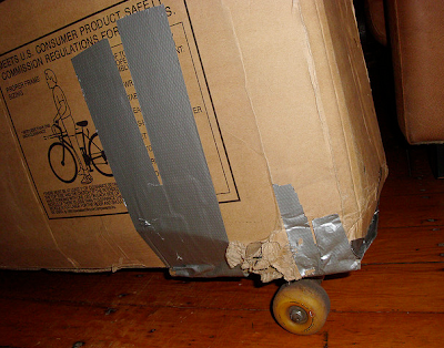 skateboard wheels on a bike box