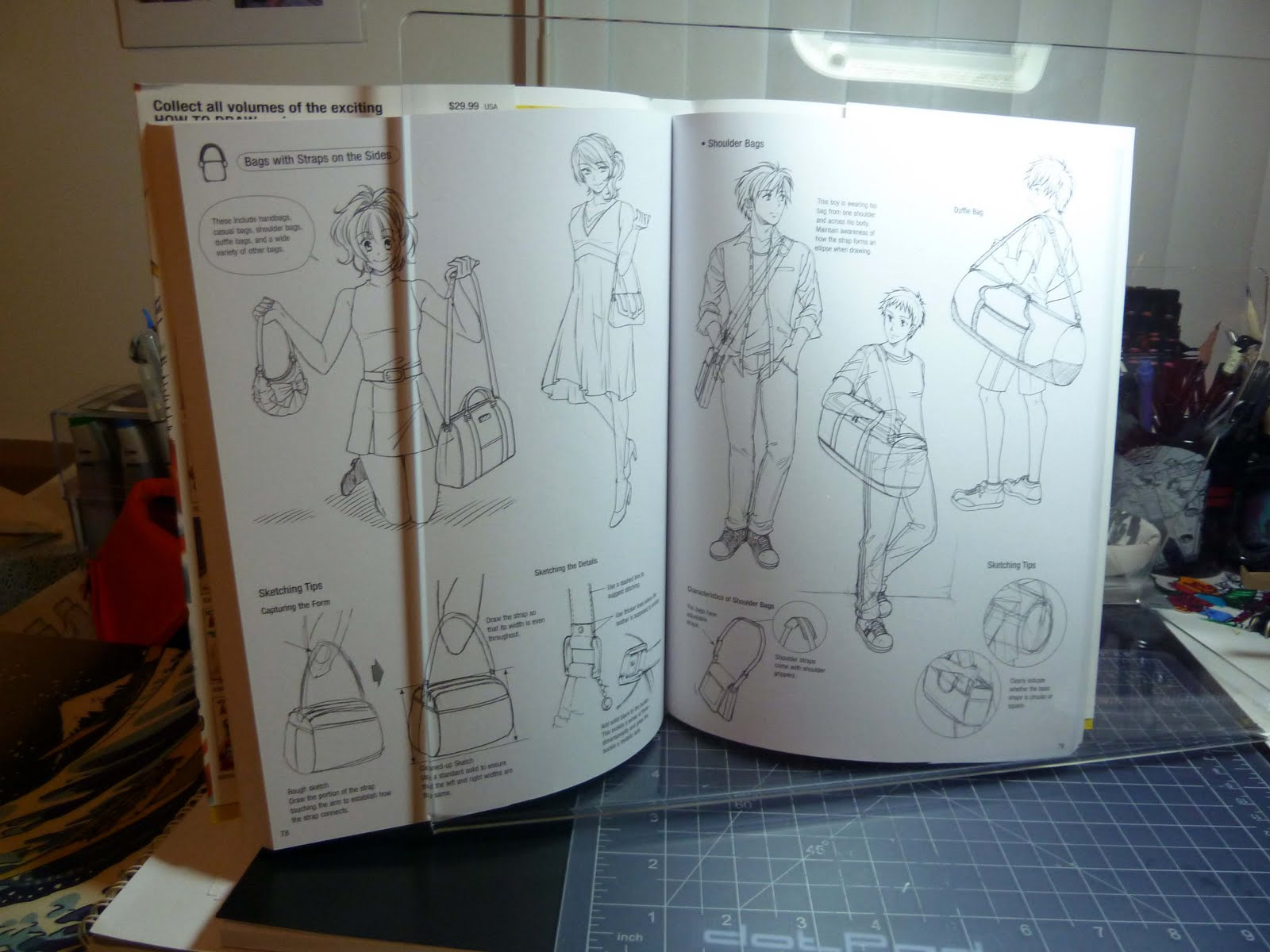 kid sketches found a book stand to hold reference books while drawing