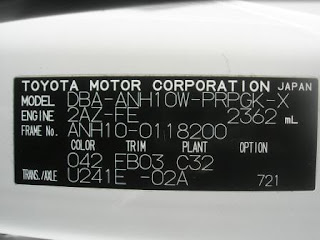 Toyota Alphard Chassis Label