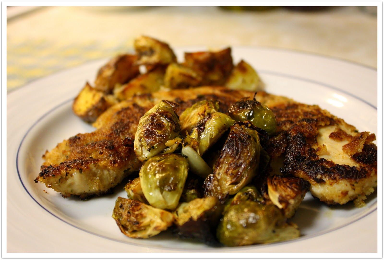 ... Honey Dijon Chicken fillets with Maple Roasted Brussel Sprouts