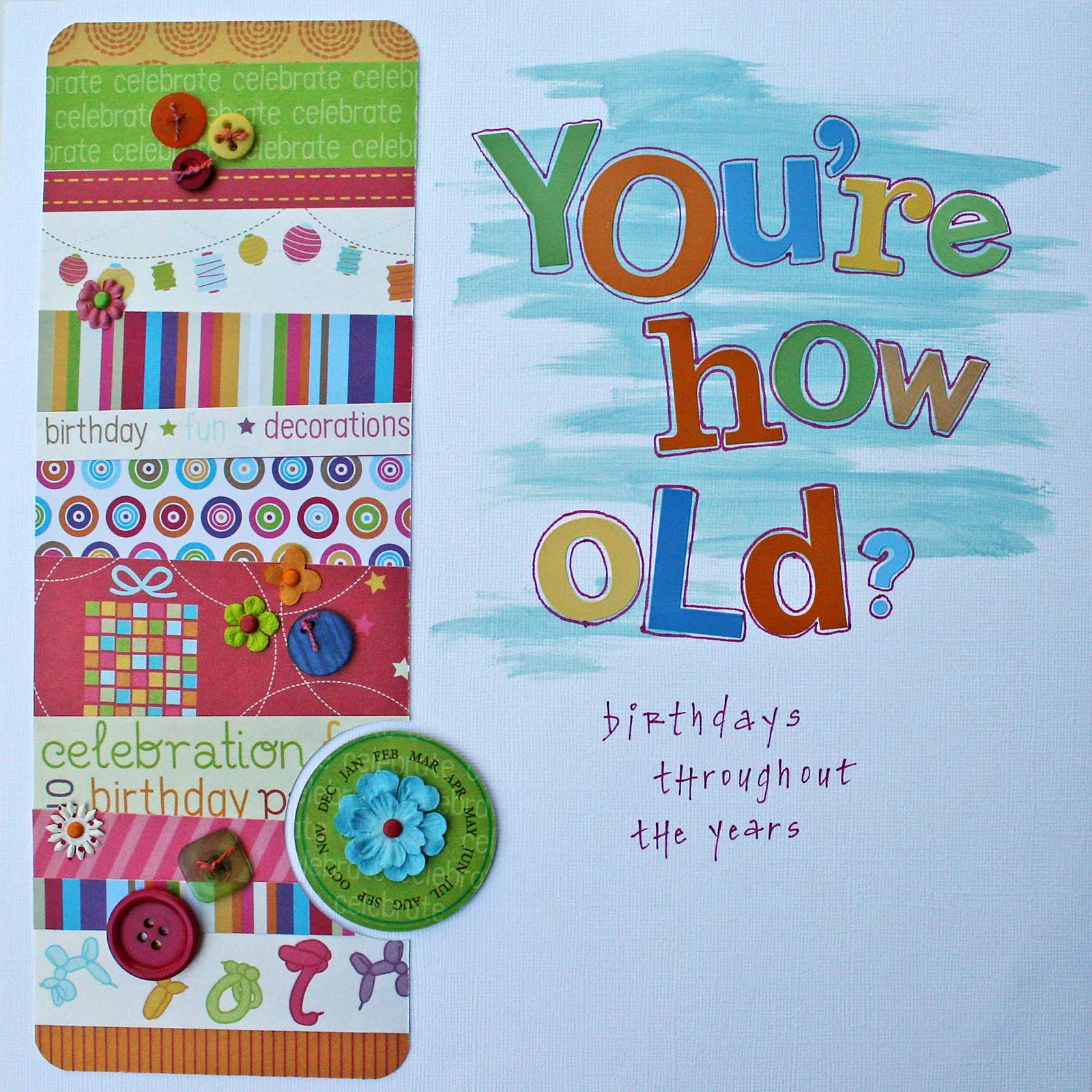 carrot top x birthday album i made this title page for the album a couple of years ago love the creative imaginations papers and accents and painting on every layout was quite the