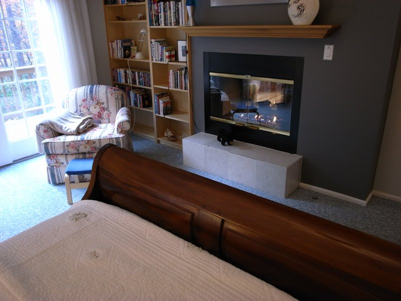 The fireplace shares a wall with the bedroom and livingroom...
