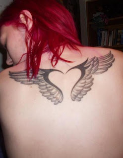 Women Back Piece With Small Angel Wings Tattoos Picture 1