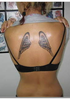 Women Back Piece With Small Angel Wings Tattoos Picture 2