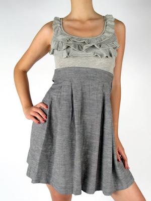 Splendid heather grey jersey ruffle front dress   BLUEFLY up to 70