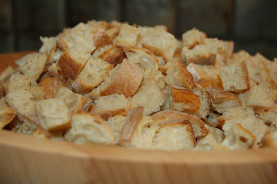 My pile of oven toasted bread cubes for stuffing