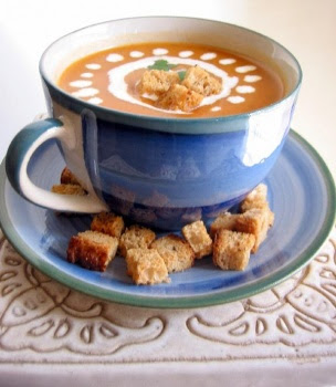 Roasted Vegetable Soup with Toasted Croutons from Deeba at Passionate About Baking blog