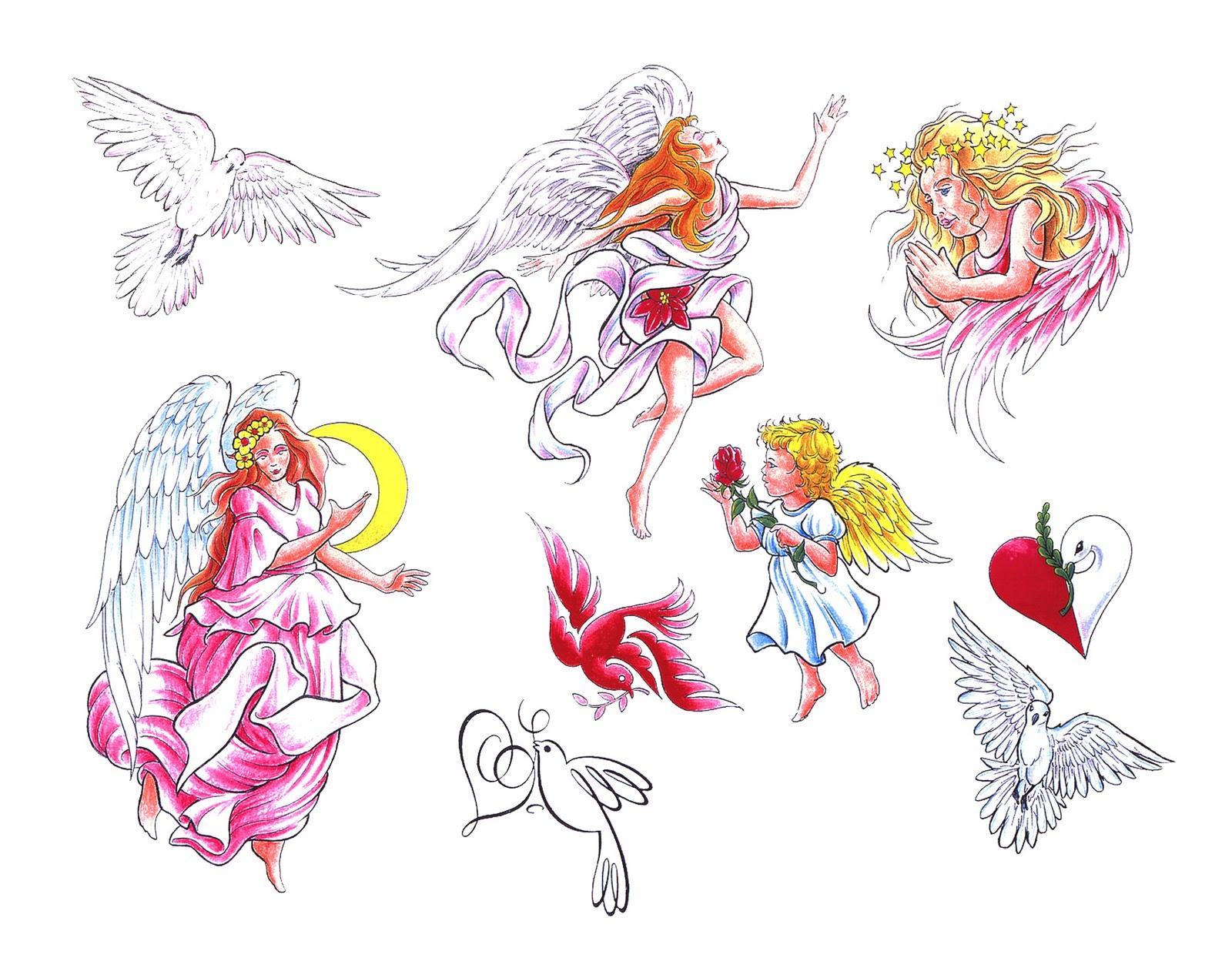 Эскизы тату ангел хранитель для девушки