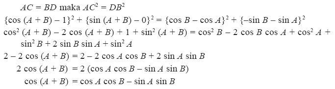 rumus selisih pada trigonometri