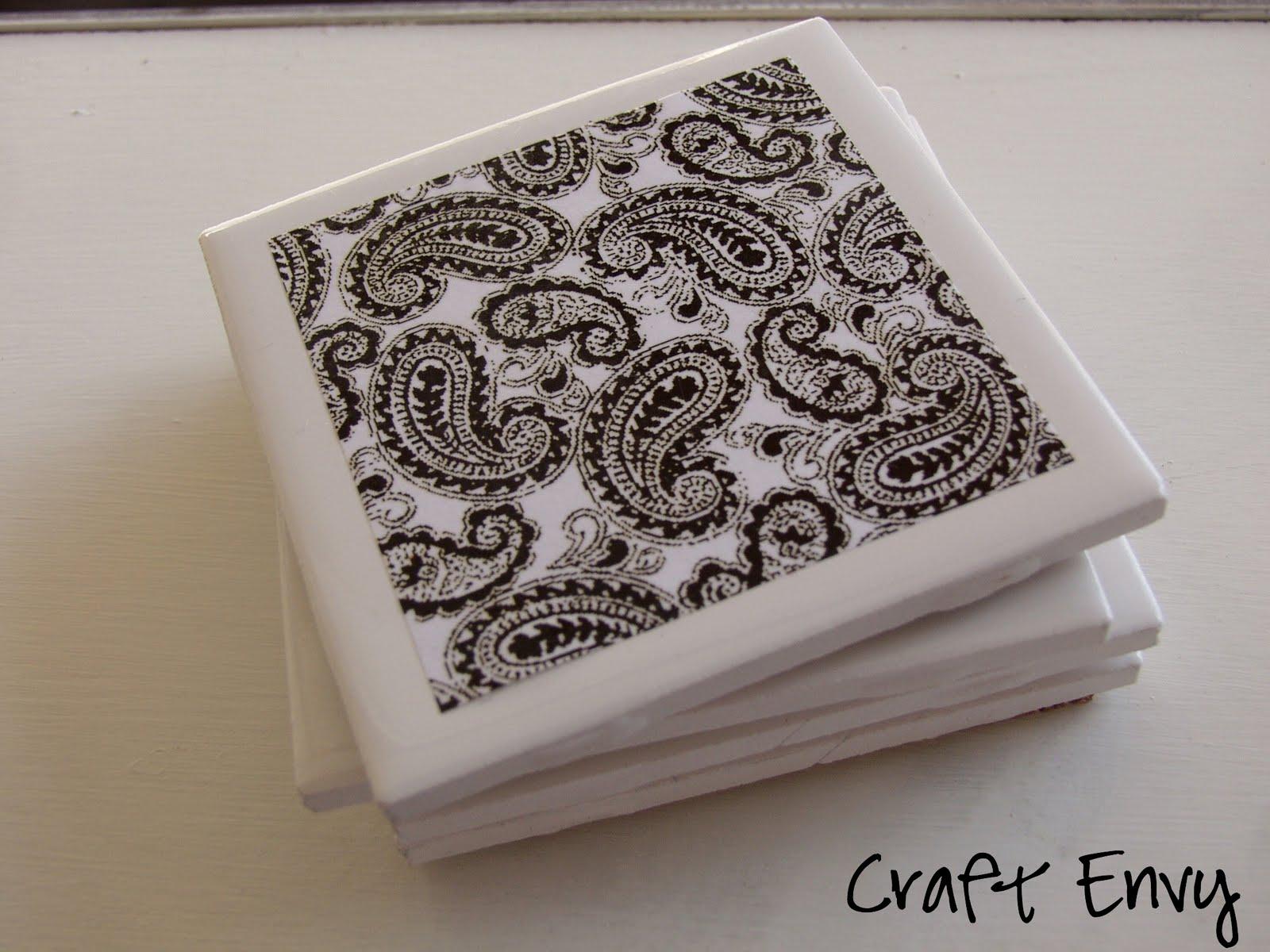 Craft envy simple ceramic coasters for Ceramic tile craft ideas