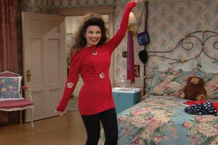 Fran Drescher wearing only pantyhose and bra