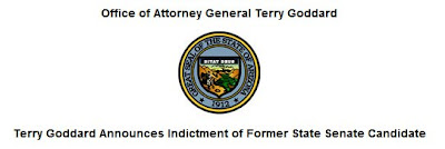 Press Release regarding indictment of Robert Green by Arizona Attorney General Terry Goddard