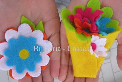 Pregadeiras de flores em feltro: Dia da Mãe