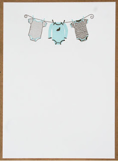 smudge ink baby boy blue onesie invitations available at mac & murphy - a charleston paper company