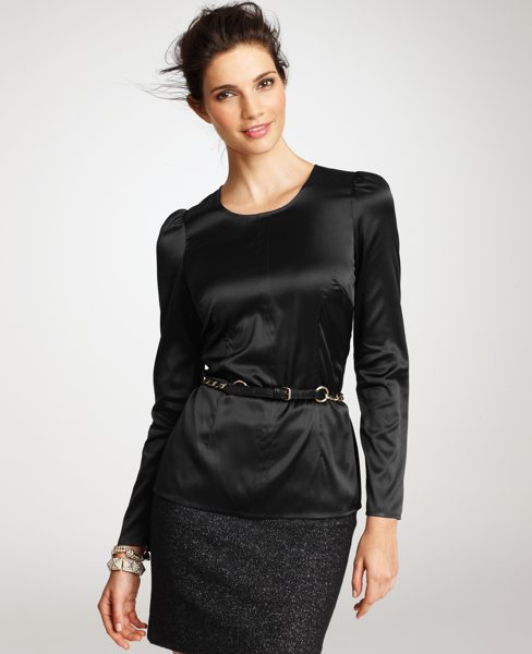 Black Fitted Silk Blouse 59