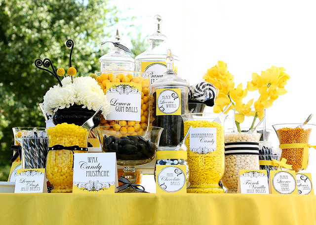 candy bar wedding. Black + Yellow Candy Bar Theme