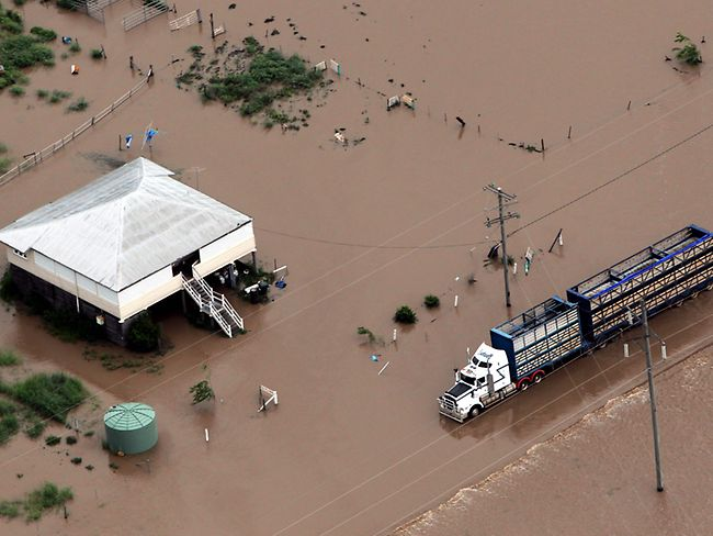 Aerial photo taken on December 31, 2010 showing the extent of the flooding