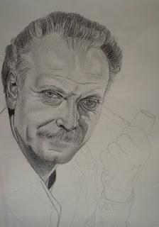 Technique du portrait, évolution étape par étape du portrait de George Brassens à la mine graphite