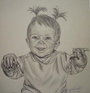 La petite fille de mon ami Daniel...portrait d'enfant, mine de plomb 8B(mine graphite)