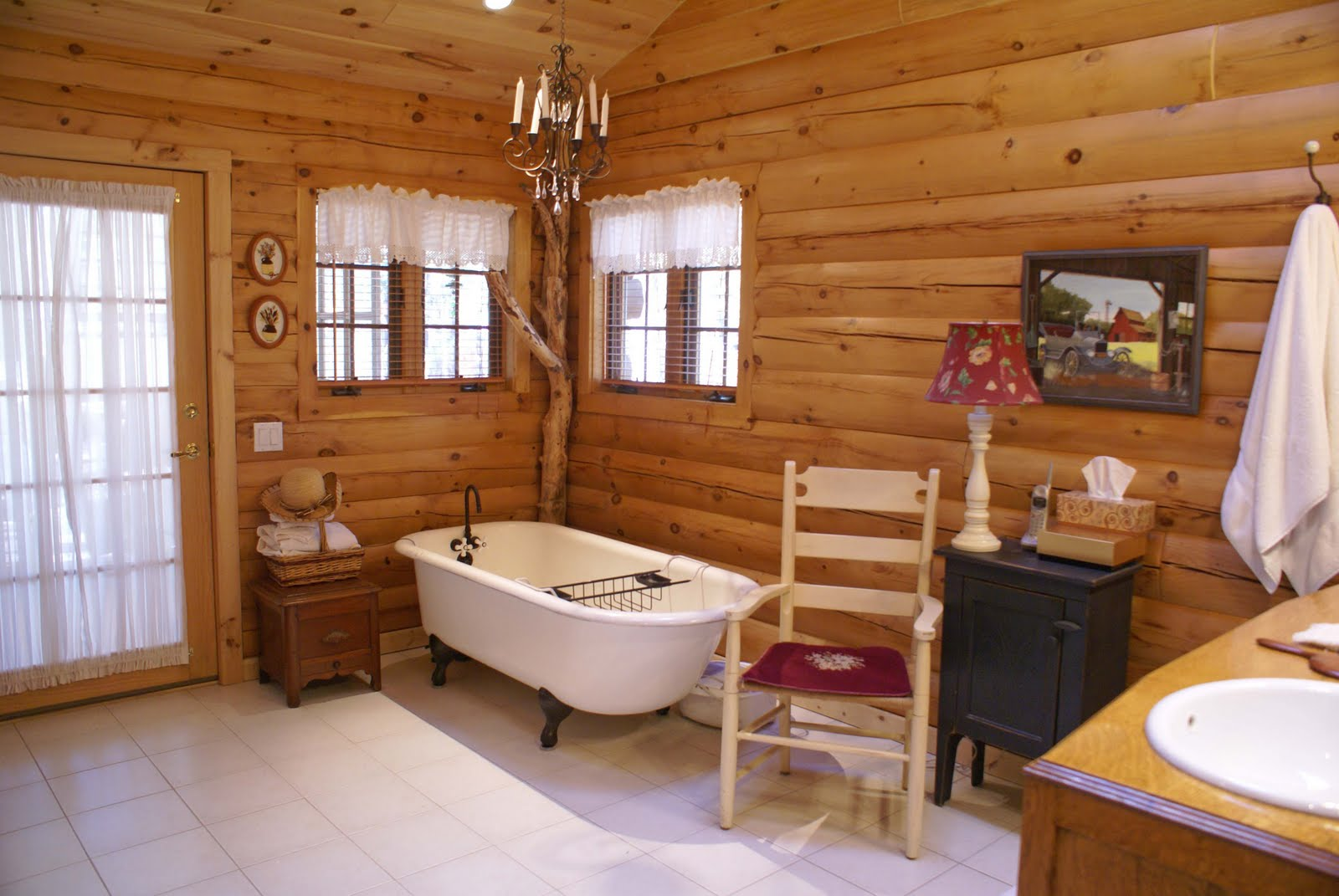 Log home thoughts round log walls or flat d log walls for Interior designs for log homes