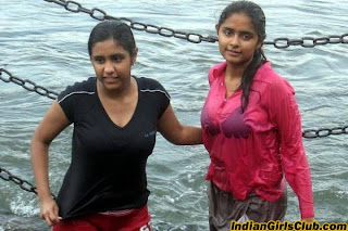 Fashion Trend Today: Young Indian Girls Bathing in River