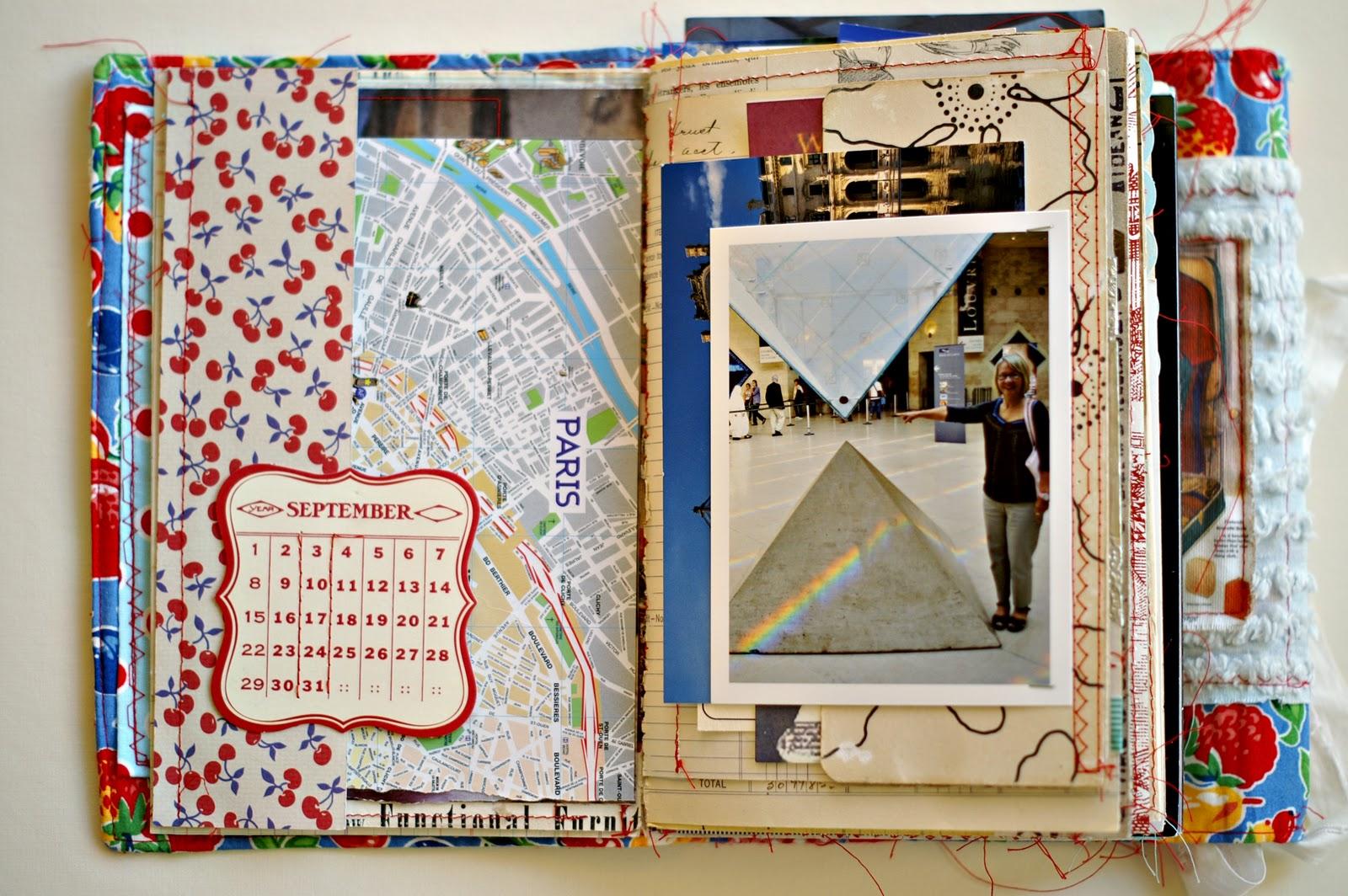 Pages four and five: more ledger paper, Jenni Bowlin paper, calendar ...