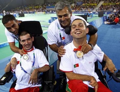Medalhados em Boccia nos Jogos Paralímpicos de Pequim: António Marques (prata) e João Paulo Fernandes (ouro) Foto: Estela Silva/Lusa