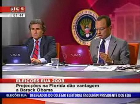 Emissão da SIC Notícias com a cobertura das eleições norte-americanas