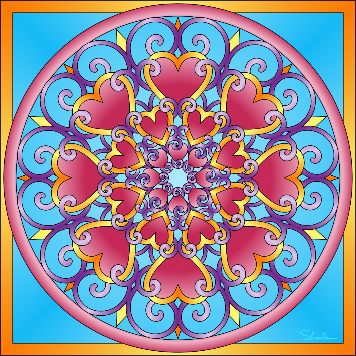 Valentines day mandala coloring pages - Valentine Mandalas Coloring Pages