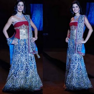 Bollywood Actress Katrina Kaif in Designer Ghagra Choli Dress