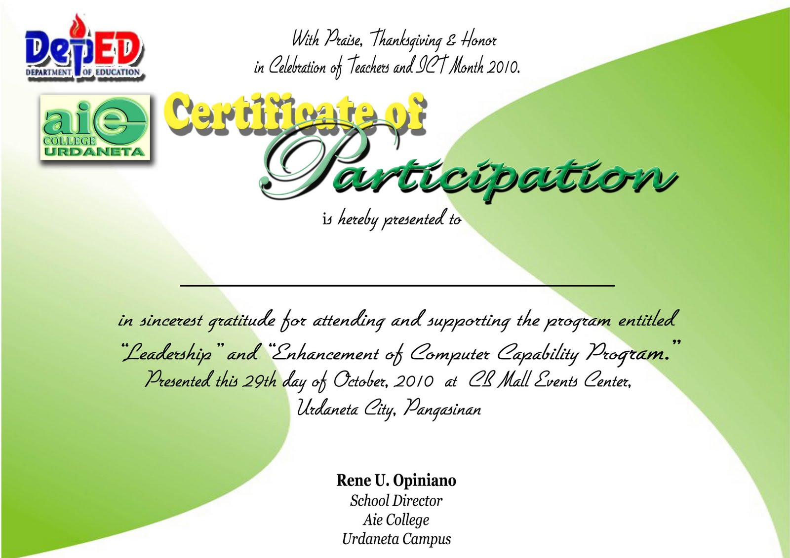 Certificate Of Participation Wording  Design Of Certificate Of Participation