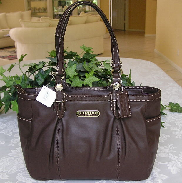 Coach 15147 Pleated Mahogany Brown Leather Gallery Tote Bag