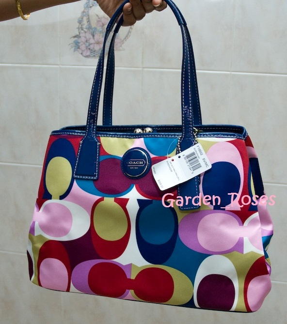 Coach 15662 Multi-Colored Scarf Print Framed Carryall Bag