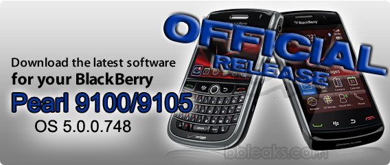 Official: BlackBerry Pearl 3G 9100 / 9105 OS 5.0.0.748 from Bell Mobility