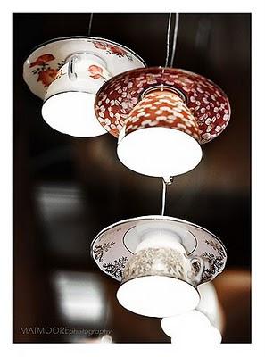 lámpara hechas con tazas