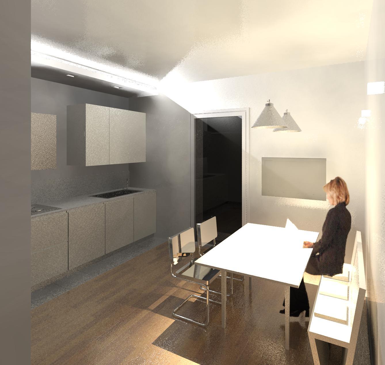 Geometra progetto di interno cucina e elemento in cartongesso con integrata illuminazione a - Cartongesso per cucina ...