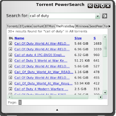 Torrent PowerSearch Opera widget