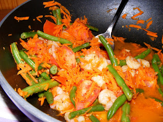  Tomato Green Bean Shrimp Stir fry